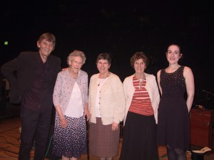From L to R: Pete Coe, Jessie Hall, Ruth Trowsdale, Edna Lolley, Alice Jones