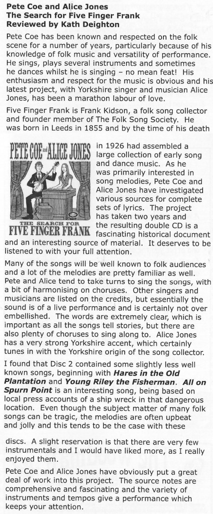 Folk Monthly - The Search For Five FInger Frank CD Review