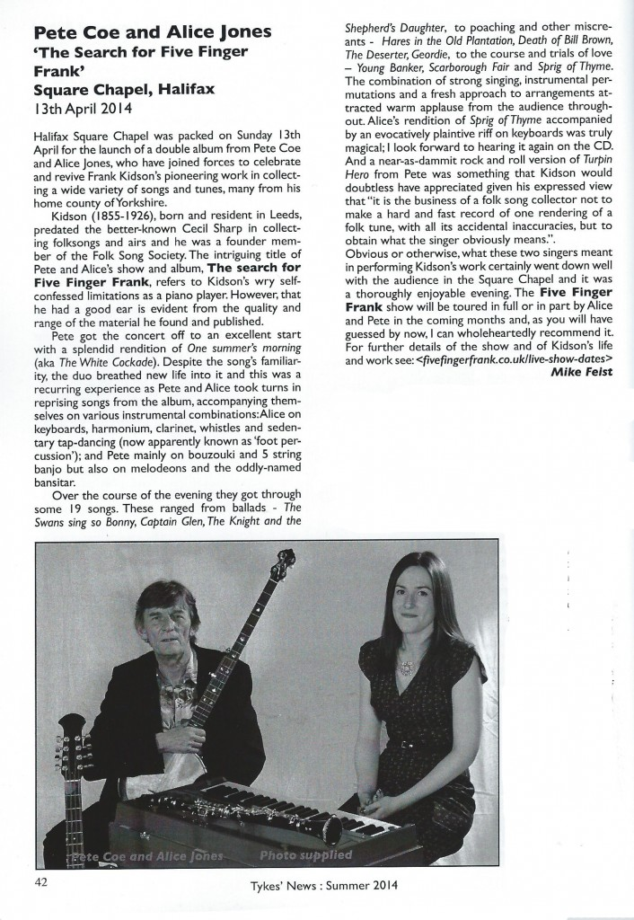 Tykes News Live Review of The Search For Five Finger Frank CD Launch