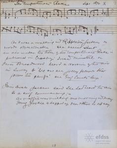 Frank Kidson's manuscript of The Unfortunate Rake collected from Kate Thompson of Knaresborough in September 1892.