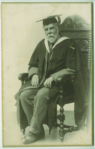 Frank Kidson pictured in 1923 upon receipt of his honorary MA in Music from Leeds University.